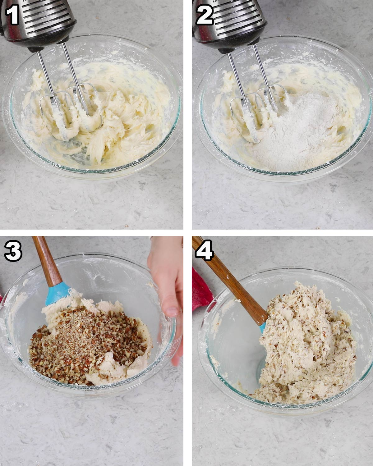 collage of making russian tea cakes: 1)creaming butter sugar vanilla 2) stirring in flour/cornstarch/salt 3) folding in nuts 4) finished dough