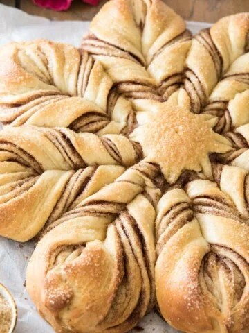 Star bread on parchment paper