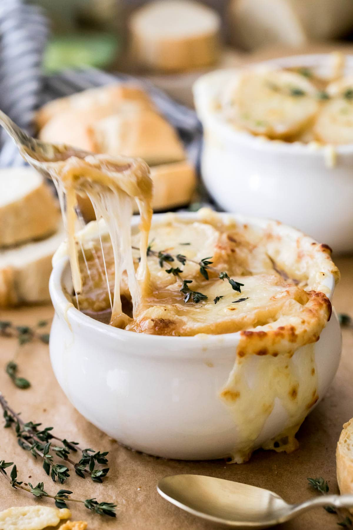 spoonful of cheesy french onion soup