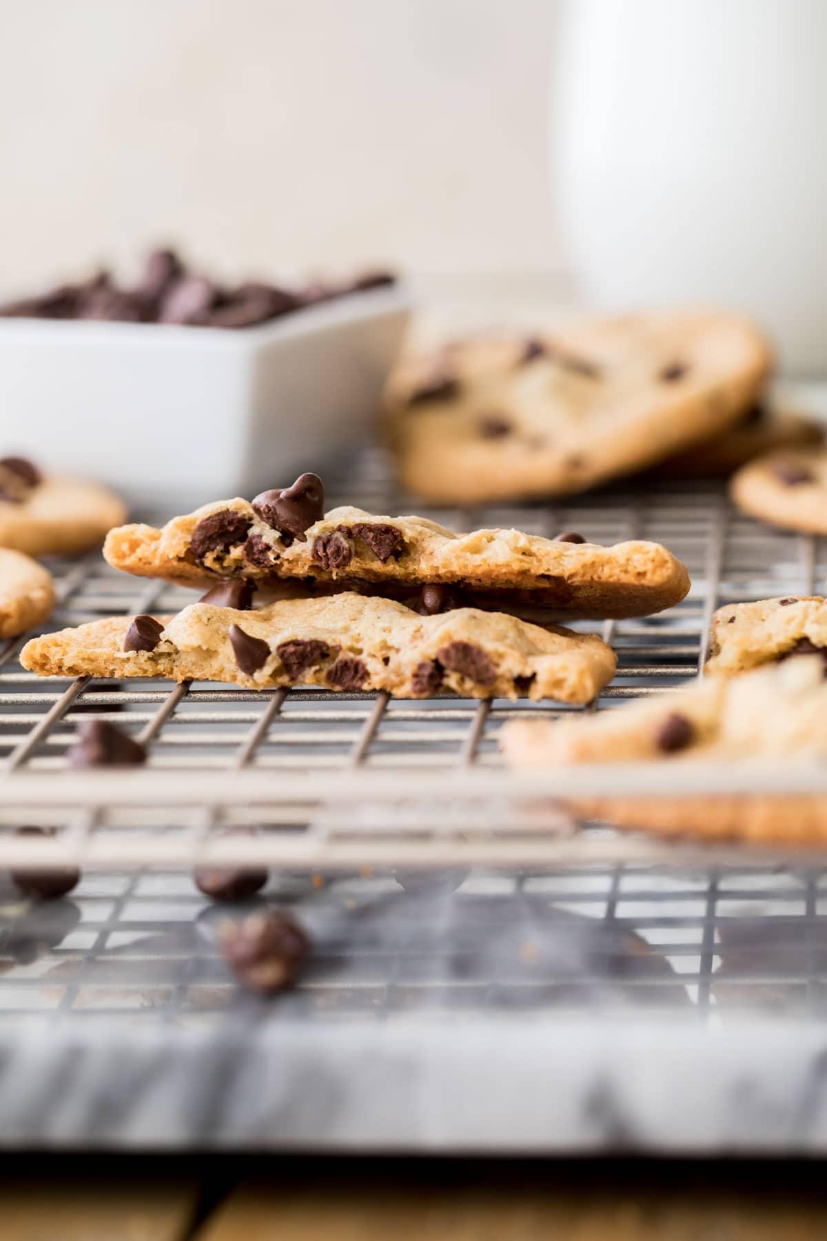 crispy chocolate chip cookie broken in half