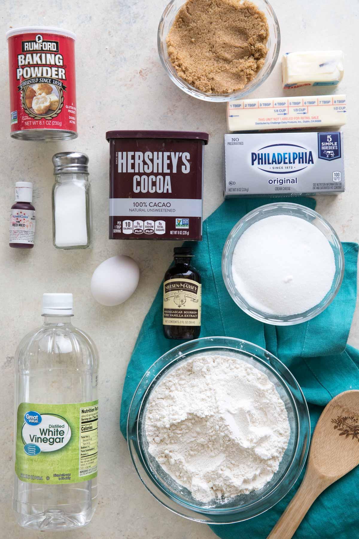 ingredients for red velvet cookies