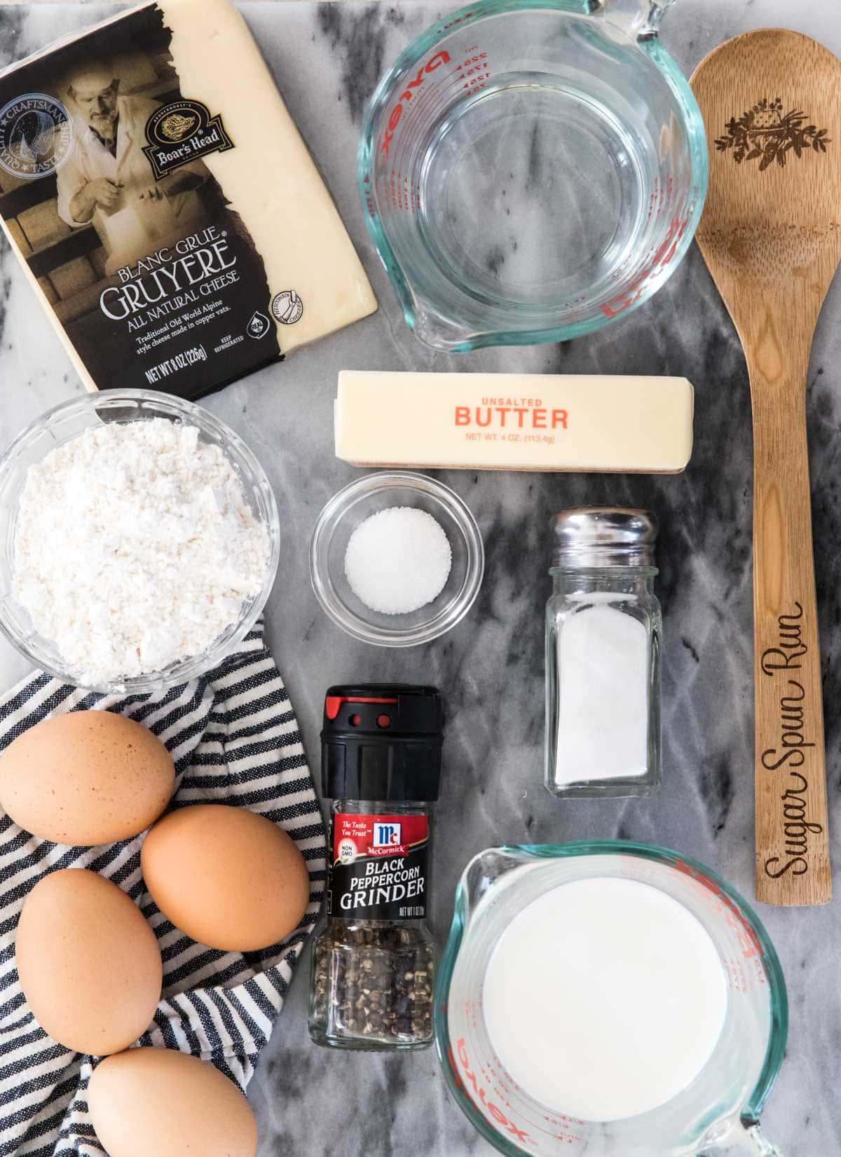 Ingredients to make gougeres
