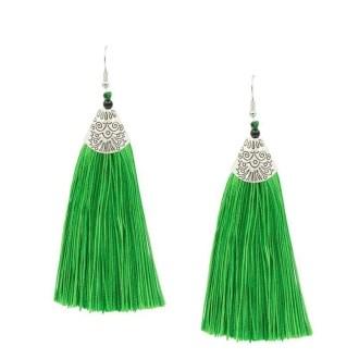 Tassel oorbellen groen