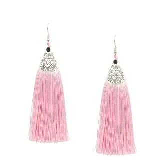 Roze kwast oorbellen