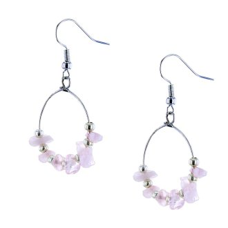 Roze oorbellen met stenen