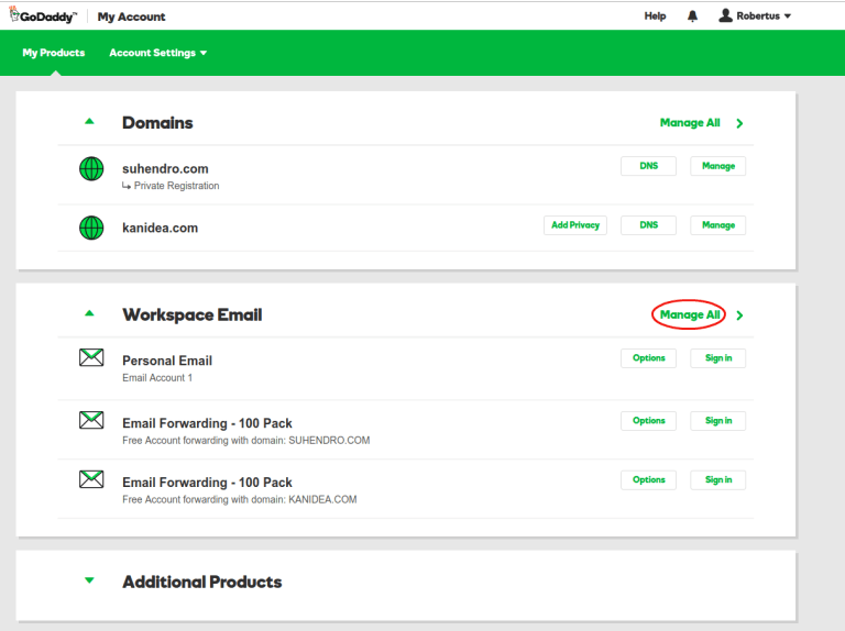 Click Manage All Of The Workspace Email If You Dont Have May Need To Check In Additional Products