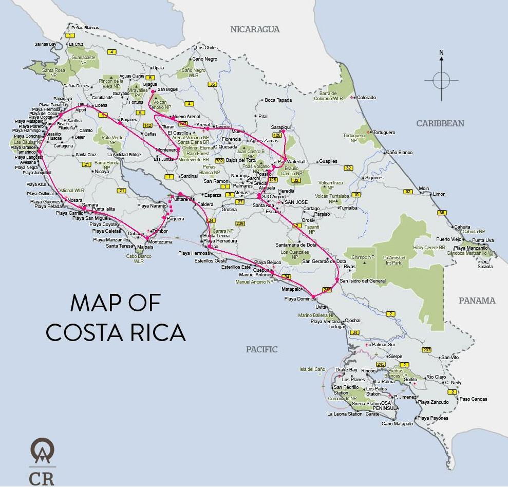 L'itinéraire complet du voyage au costa rice avec étapes