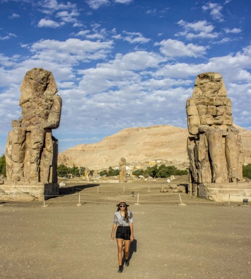 Colossi of Memnon valley of the kings- Travel Talk Tours Solo female travel egypt