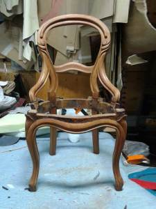 Balloon-back chair stripped and unstained