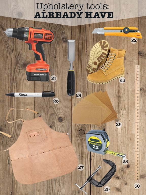 Upholstery Tool Kit 14 Wooden Staple Tack Bent Straight Chisel Hammer Stretcher
