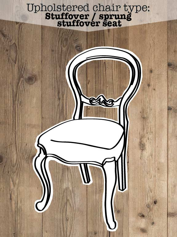 Illustration on stuff-over or wrap around upholstered chair