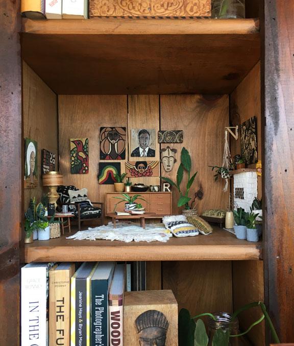 Miniature diorama in bookcase
