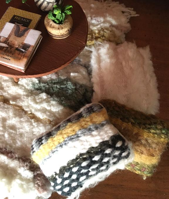 Detail of miniature woven pillows