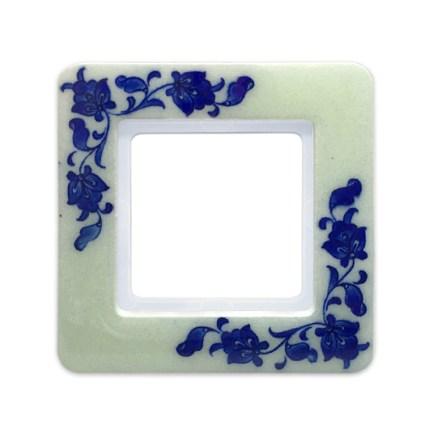 Image: Berker Q.7 Frame quartz-ceramics by Iznik Turkey 'Florals Blue', single model