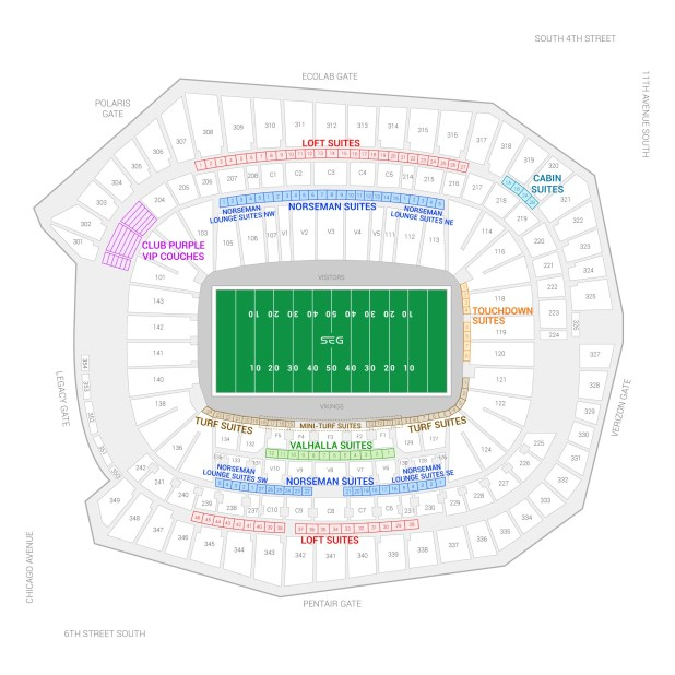 Stadium Maps US Bank Stadium Minnesota Vikings US Bank Stadium - Blankpacific us map