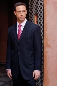 slim fitting blue suit