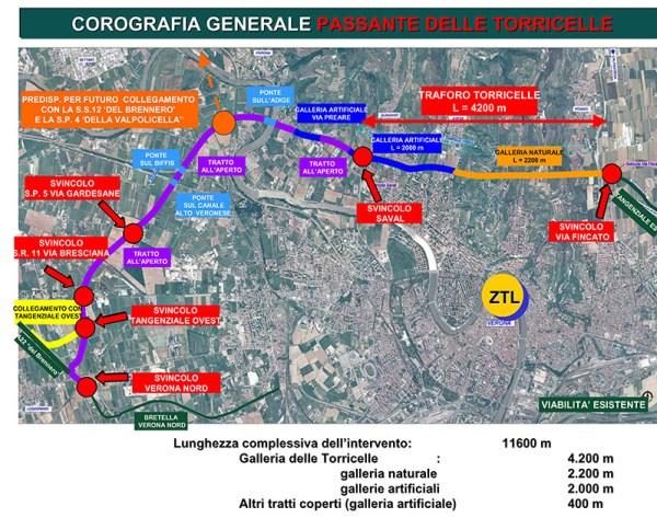 Mappa Verona e il Traforo delle Torricelle