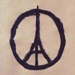 Parigi 13 novembre 2015 simbolo pace e torre Eiffel