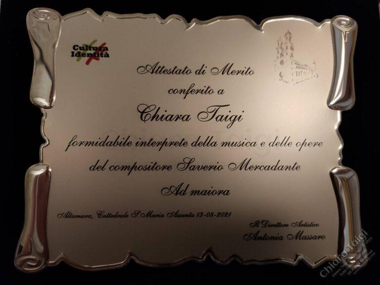 Chiara Taigi - Attestato di Merito - Formidabile inteprete della musica e delle opere del compositore Saverio Mercadante