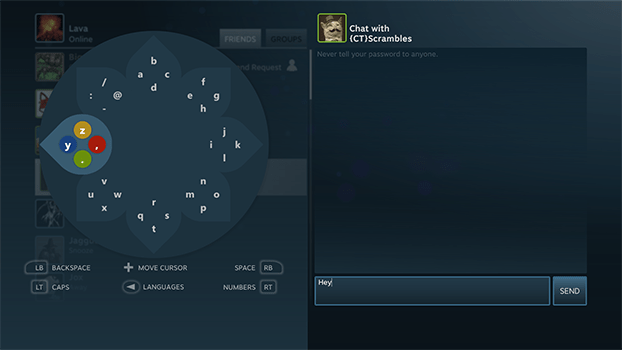 Steam Bigpicture Controller Typing