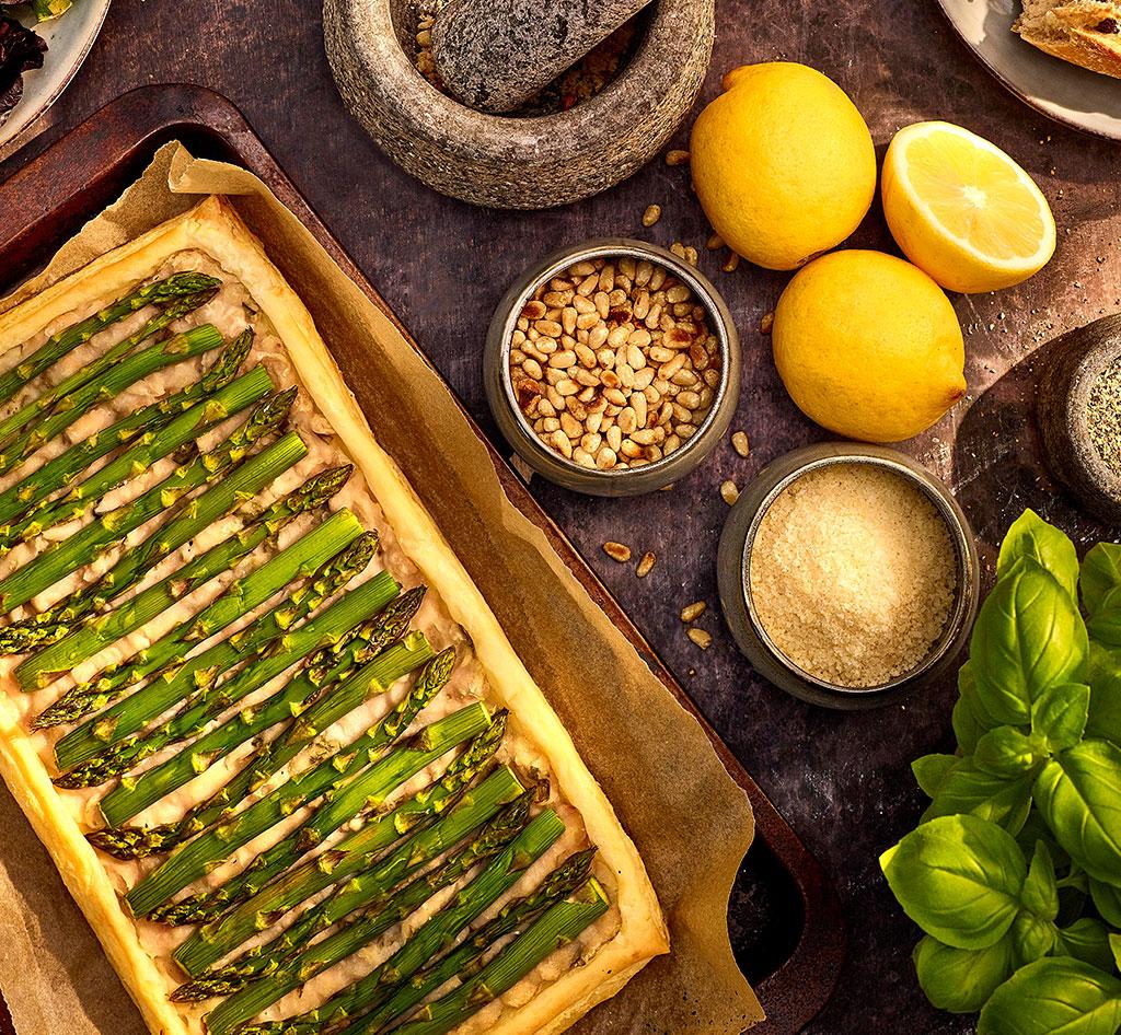 Basil & asparagus tart