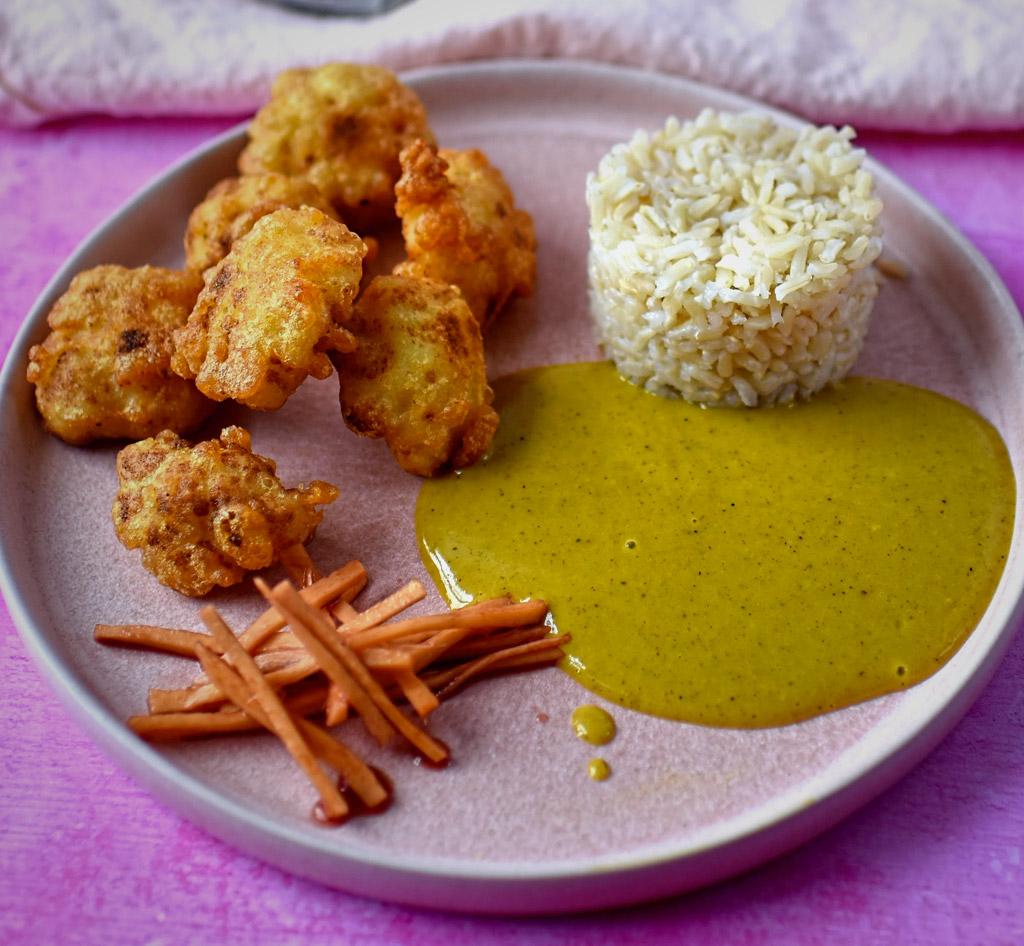Cauliflower Tempura and Coconut Curry