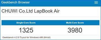 Chuwi Lapbook Air Geekbench スコア
