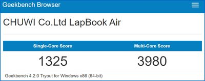 Chuwi Lapbook Air Geekbench スコア