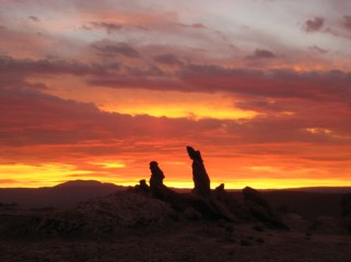 Hiking in the impressive Moon Valley in the Atacama Desert in Chile