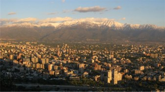 Panoramic view of Santiago, Chile from Cerro San Cristobal