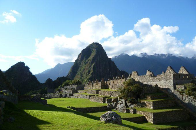 At sunset inside Machu Picchu, near Cusco, Peru