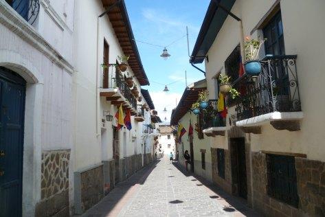Cobblestone streets in Quito's old town, Ecuador
