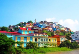 View of colourful Las Peñas in Guayaquil, Ecuador