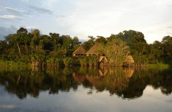 View of the Sani lodge in the Amazon rainforest, Ecuador tour