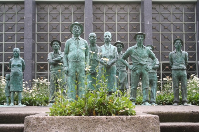 Monument to remember those who built San Jose, Costa Rica