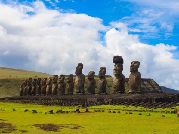 Ahu Tongariki. The largest ahu on Easter Island, Chile