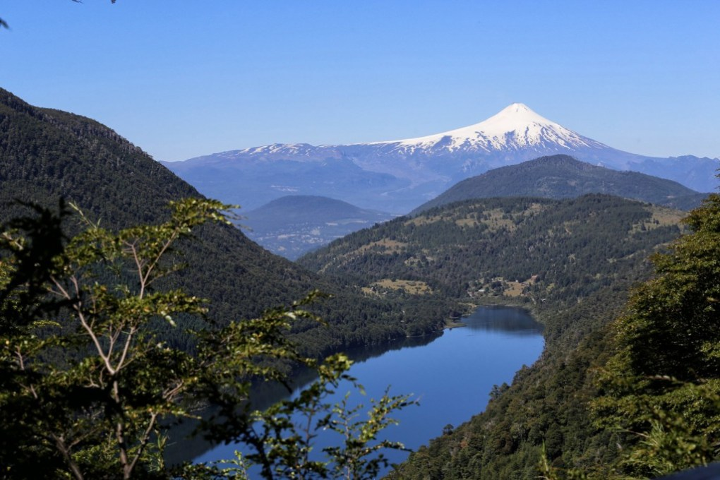 The stunning Villarrica Volcano in the distance in Pucon, Chile