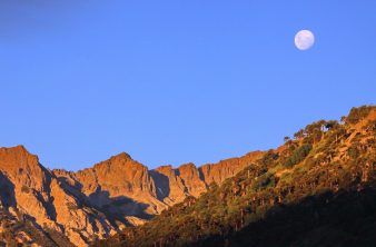Moon over Rankewe, near the indigenous community of Quinquén, Chile