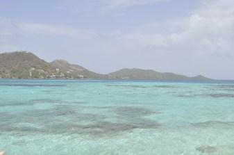 Looking at Providencia Island from Crab Cay, Colombia