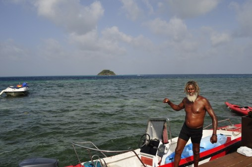 Our local guide in Providencia Island, Betito and his boat