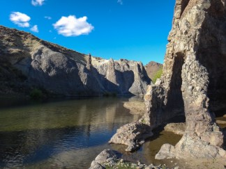 Strange volcanic rock formations forming one part of the Pichi Leufu River bank in Argentina