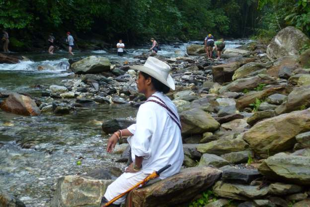 Crossing rivers and creeks during the Lost City Hike, Colombia