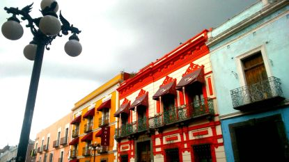 A glimpse of some of Puebla's iconic houses, Mexico