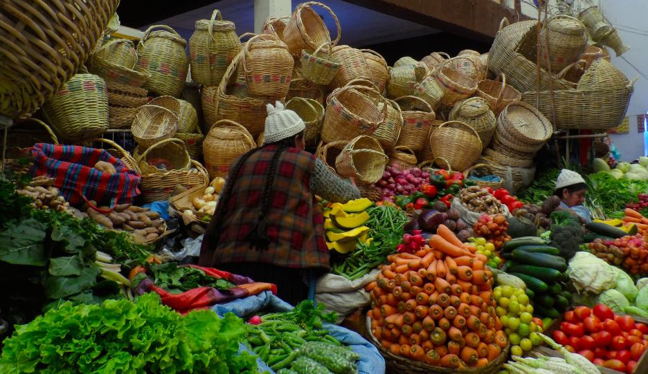 An amazing selection of fruits and vegetables at the central market in Sucre, Bolivia