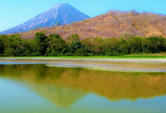 Volcano Conception from Laguna Charco Verde, Ometepe Island, Lake Nicaragua
