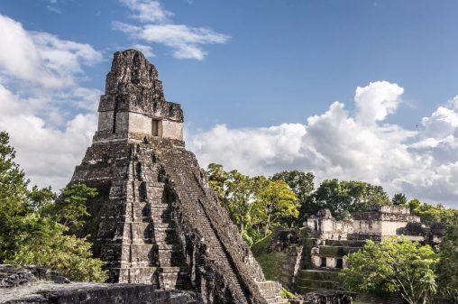 Climbing the Tikal UNESCO site in Guatemala