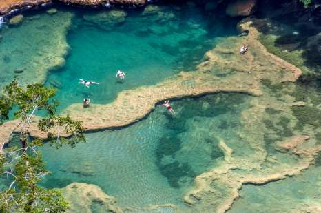 Incredible turquoise water of Semuc Champey in Guatemala