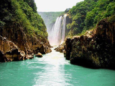 Impressive Tamul Waterfall in San Luis Potosi State, Mexico