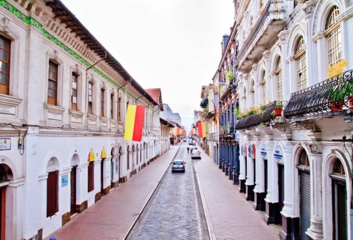 A beautiful street in Cuenca, Ecuador