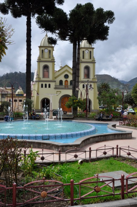 The charming main square of Chordeleg with its church in the background, Ecuador